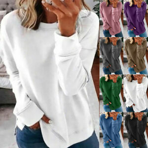 Women Long Sleeve Casual Loose T Shirt Blouse Pullover Tunic Tee Plus Size Tops $14.96
