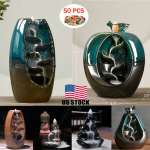 50 Cones Ceramic Backflow Waterfall Incense Burner Home Decoration Aromatherapy $11.48