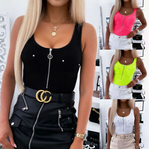 Discount!Women#x27;s fashion personality zipper tight stretch ribbed sleeveless vest