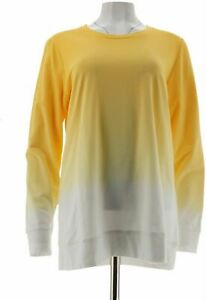 Denim Co Active Dip Dye French Terry Pullover Sunflower Yellow 1X A304427 PO $9.99