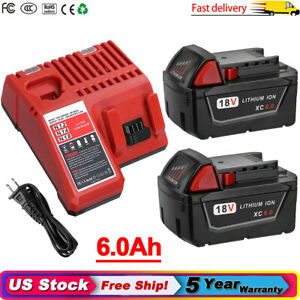 For Milwaukee M18 XC 6.0 AH Extended Lithium Battery 48 11 1860 or M18 Charger