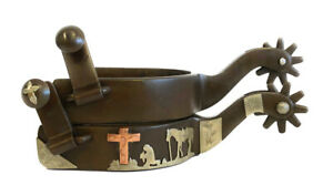 Praying Cowboy Cross Western Show Spurs Standing Horse Antique Brown Color Mens