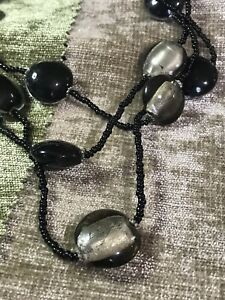 Frosted silver black Glass Bead Triple strand chunky necklace $14.50