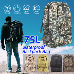 75L Unisex Waterproof Outdoor Camping Backpack Bag Military Tactical Bag Hiking