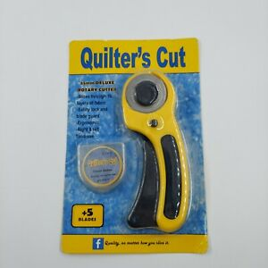NEW Rotary Cutter With 5 45mm Blade Sewing Quilters Fabric Leather Cutting Tool $7.21