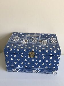 Vintage Quilted Floral Lucite Handle Sewing Box With Removable Tray amp; More $49.99