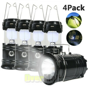4x Solar Portable Flashlight LED Rechargeable Camping Lantern Bright Tent Lamp