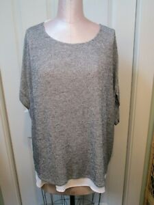 INC BLACK SILVER LUREX CAP SLV LINED TUNIC SX 1X NWOT WHITE LAYERED LOOK LINED
