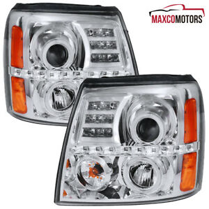 For 2002 2006 Cadillac Escalade Halo Projector Headlights LED DRL Lamps 02 03 04 $179.89