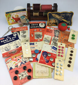 Assortment of Vintage Sewing Notions Lot Zippers Buttons Buckles Thread Holder $29.99