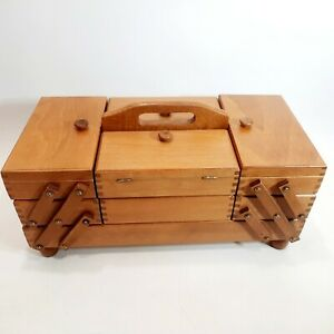 Vintage Small 3 Tier Fold Out Accordion Wood Dovetail Sewing storage Box mcm $38.00
