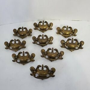 Lot of 9 Colonial Style Brass Finish Dresser Drawer Pulls w Swing Handles 4quot; $29.99