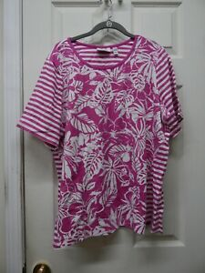 Denim Co Print Stripe Short Sleeve Round Neck Top Orchid Pink 1X A292492 NEW $14.99