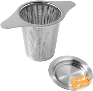 Tea Infuser Tea Strainer Stainless Steel Fine Mesh Filter with Lid Double Handle