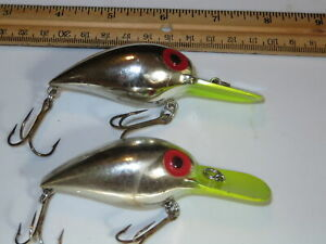 Lot of 2 Storm Magnum Mag Wiggle Wart Pre Rapala Lures Chrome Chart
