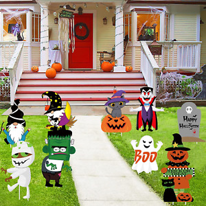HALLOWEEN 9 PCS Large Yard Signs with Stakes Outdoor Decorative Signs Include M $11.49