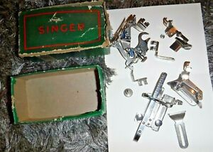 SINGER BOX OF VINTAGE ATTACHMENTS SEWING MACHINE ACCESSORIES $29.95