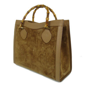 Auth GUCCI Logos Bamboo Handle Leather Hand Bag Brown Italy F S 20971b $206.10