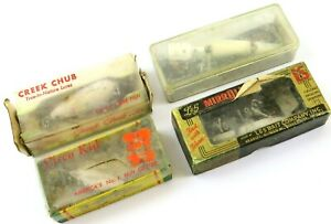 Creek Chub Cisco Kid and Lamp;S Vintage Lures in Boxes with White Residue Read