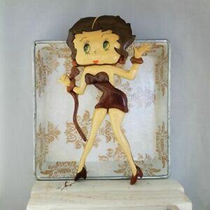 Vintage One of a Kind Betty Boop Singer Wood Carving Wall Plaque $20.00