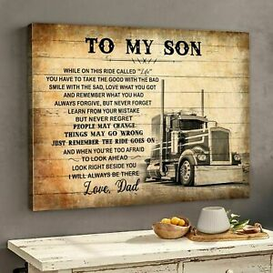 To My Son Love Dad Truck Driver Landscape Poster No Frame Gift For Son Family $13.99