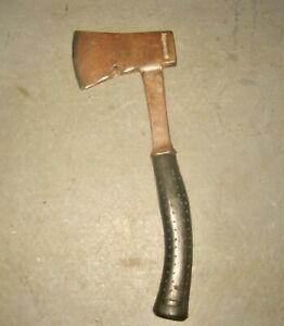 VINTAGE DROP FORGED AXE with STEEL HANDLE RUBBER GRIP CAMPING CARPENTRY $6.00