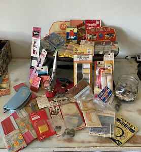 Vintage Lot of Sewing Supplies Notions Bias Tape Tools Zippers more $25.00