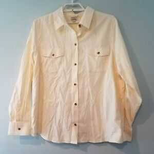 LL Bean top womens 2X flannel button front butter cream solid $29.97