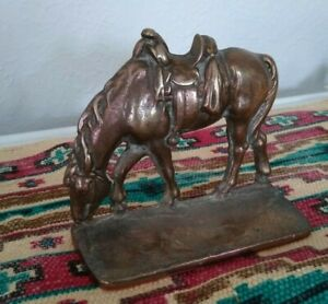 """Vintage Cast Bronze Western """"Saddled Horse"""" Bookend with Rare Open Body $20.00"""
