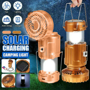 Solar Outdoor Fan Rechargeable Camping Lantern Light LED Hand Lamp Flashlight
