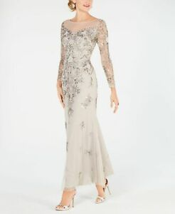 Adrianna Papell Womens Dress Gray Size 10 Long Embellished Ball Gown $319 #472 $124.97