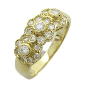 JEWELRY Diamond Ring 18K 750 Yellow Gold Clear Used #13