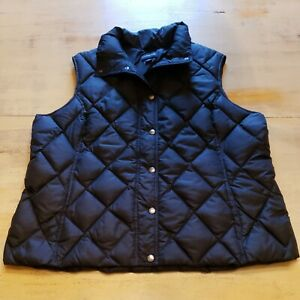 Lands End Black Quilted Puffer Down Filled Vest Womens Sz XL $23.99