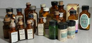 Lot of 23 Antique Glass Medicine Bottles With Intact Labels TR02 $169.99