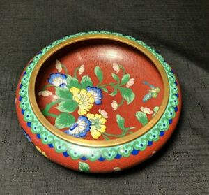 Chinese Cloisonne Red Enamel Low Bowl Ming Style Flowers and Butterflies 5.75 $60.00