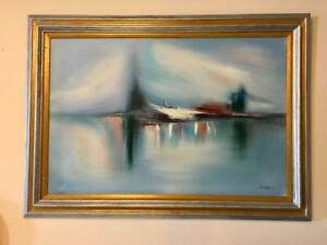 Charles Green Shaw 1892 1974 American Large oil on canvas abstract painting $2500.00
