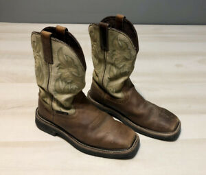Justin Steel Toe Brown WK4688 Pull On Square Toe Leather Cowboy Work Boots 7D