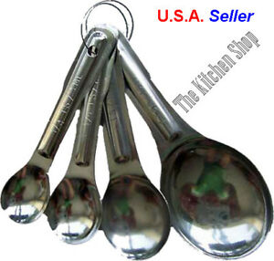 Measuring Spoons Set of 4 Four Stainless Steel Kitchen Tools Free Shipping