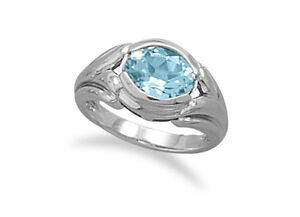Sterling Silver Oval Blue Topaz Solitaire Cocktail Ring