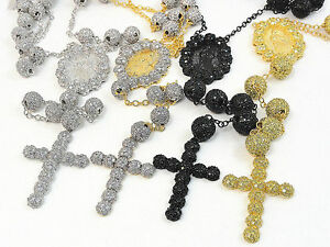 NEW MENS CATHOLIC GOLD FINISH 26+8 IN CZ FLORAL BEAD BALL ROSARY NECKLACE CHAIN