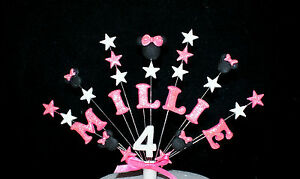 Minnie mouse custom birthday cake topper personalised name age cake decoration