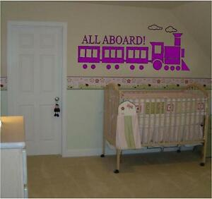 All Aboard Train for Kids room vinyl wall decal