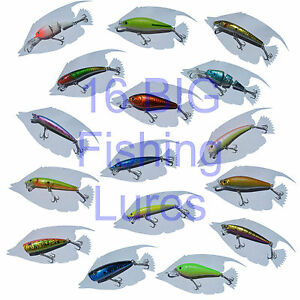 LOT of 16 FISHING LURES - Bass Walleye Steelhead Trout FISH TACKLE Crankbaits