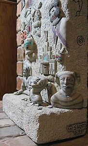 KACHINA FIREPLACE Hand Carved Leuterstone with Gemstones Inlay Museum Quality