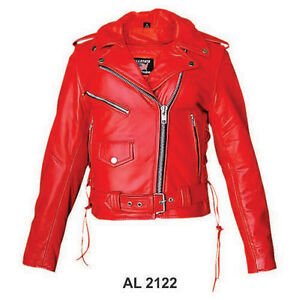 Ladies Red Leather Jacket Classic Motorcycle Style w Side Lace & Zip Out Liner