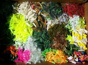 100pc PANFISH ASSORTMENT 1quot; to 2quot; SOFT PLASTIC BAITS Crappie Fishing Lures Trout
