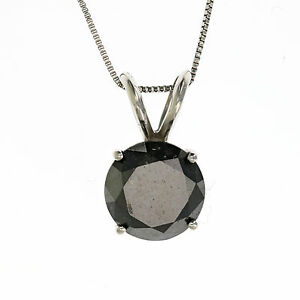2 CT BLACK DIAMOND NECKLACE IN 14K WHITE OR YELLOW GOLD WITH 18 INCHES CHAIN