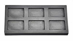6 Cavity 1 oz Rect. Gold Graphite Ingot Mold Cast Melting Refining Metal Scrap