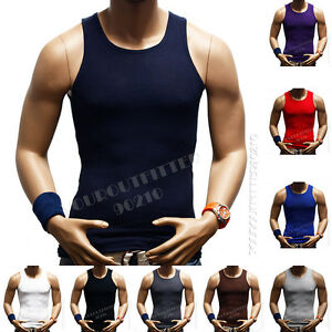 Mens T Shirt Tank Top100% Cotton A Shirt Muscle Ribbed Gym Sleeveless Big Tall $4.49