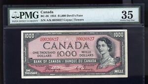 1954 $1000 Devils Face  -BEAUTIFUL COLOURS ON THIS BANKNOTE - SCARCE DEVIL FACE